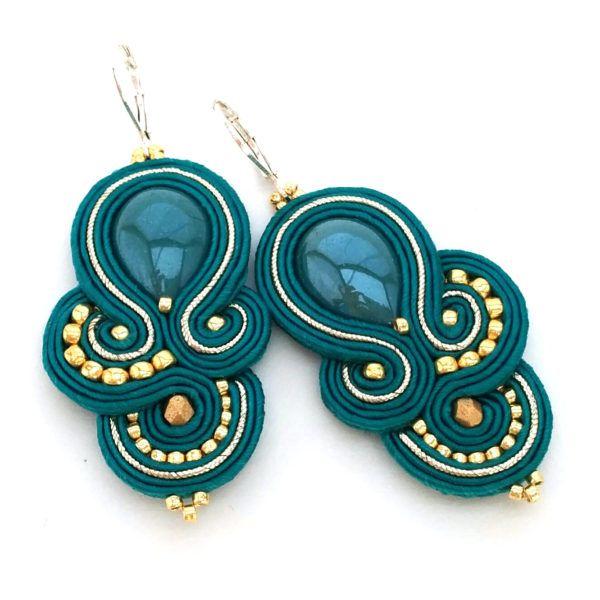Soutache jewelry - Soutache earrings - Teal earrings - Bridesmaids earrings - Bridesmaids jewelry   SABO Design