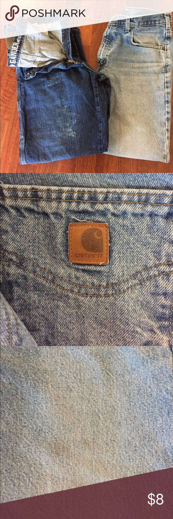 Men's 36x30 jeans Darker pair (Gander Mt) is free of stains. Lighter pair has a stain that is shown in picture; its Carhart. Jeans Straight