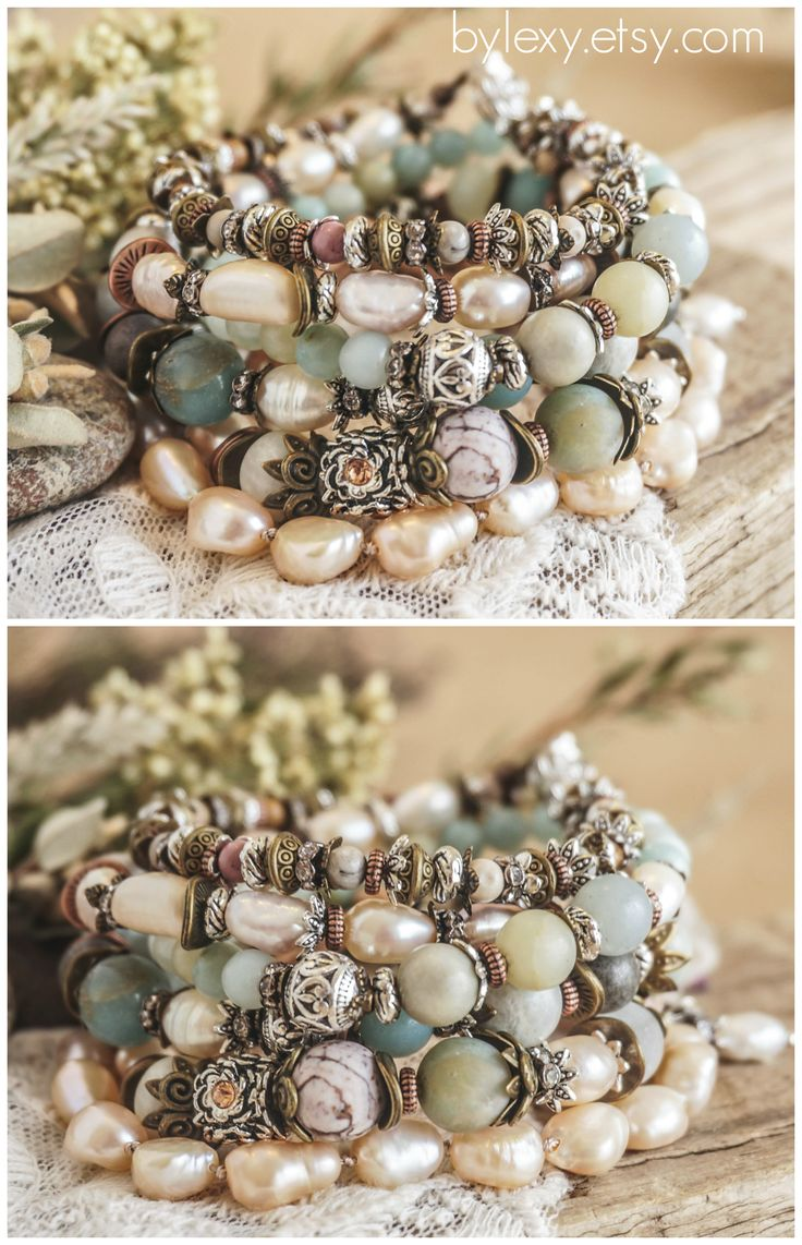 "Set of 5 Boho ""Dusty Vanilla""Wrap Pearl Bracelets, Bohemian Victorian Gypsy Chic Rustic Earthy Floral Stack Multilayer Bracelets Gift ByLEXY"