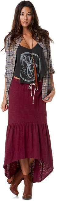 Relaxed western boho style. Tan ankle boots, oxblood maxi, edgy tank and western shirt.