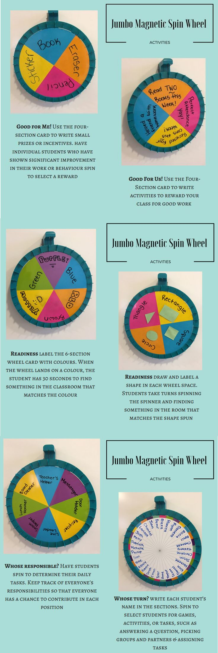 Turn your whiteboard into an activity center for classroom management with the Jumbo Magnetic Spin Wheel! Find this in the Classroom Essentials Catalogue: OPUS 2404325 Page 41 See the pages here: http://www.scholastic.ca/clubs/cec/