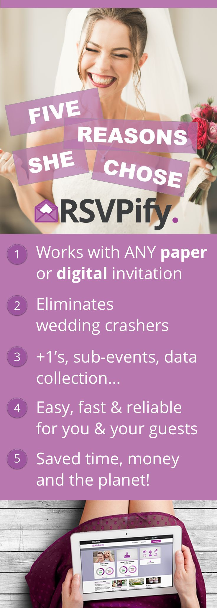 RSVPify is the #1 free way to collect RSVPs for your wedding.    It works with ANY paper or digital invitation, and helps you save time, money and the planet...all at the same time!  Don't make the mistake of 'snail mail' RSVPs or the basic RSVP tool that come with your wedding website.  #weddingrsvp #wedding #weddinginvitation