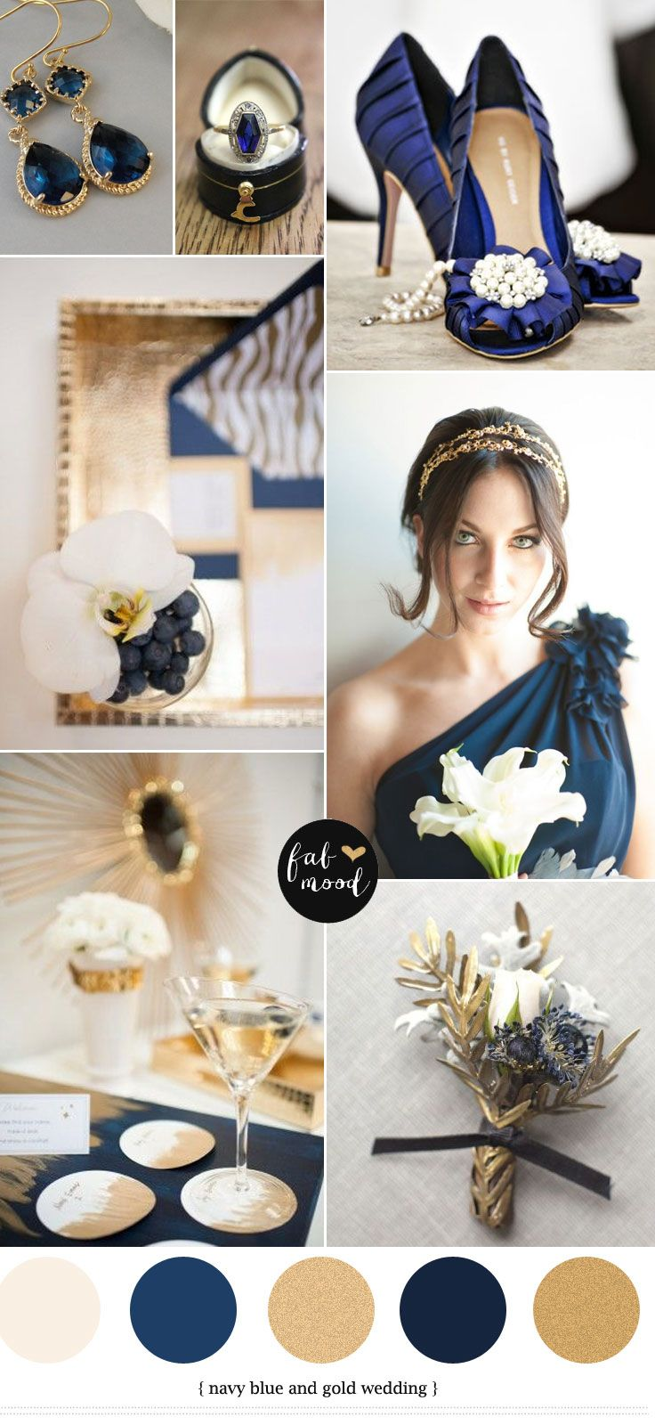 gold and navy blue wedding colours palette