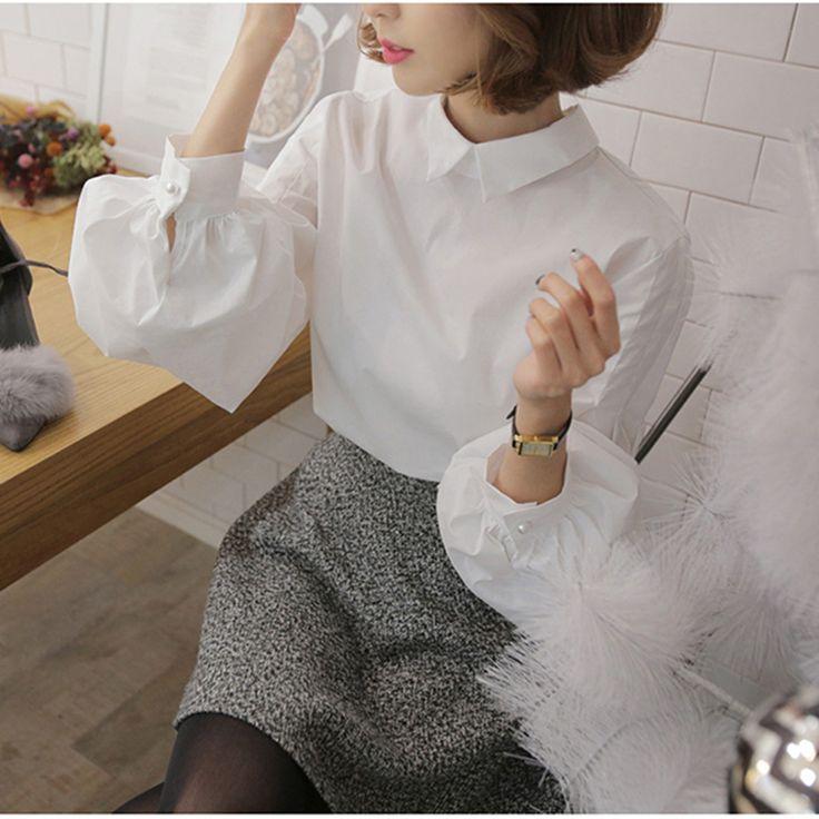 M1FA120C # 6989 2016 весной моды женщин белая рубашка фонарь рукав Питер Пэн воротник блузка женская свободная