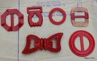 Vintage belt buckles... Red!