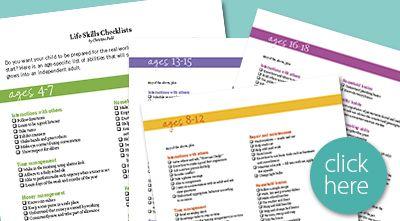 lifeskills checklist by age