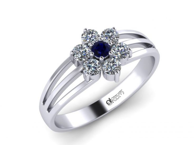 Inel de logodna ATCOM Lux safir si diamante ALEXEI aur alb