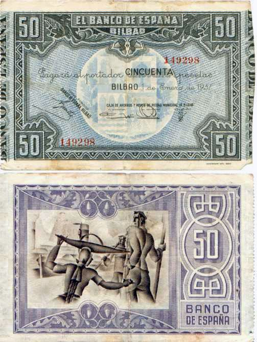 1937 Billete de 100 pesetas, Bilbao