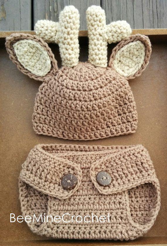 Deer MUSTER häkeln Neugeborenen Outfit Baby 0-3 von BeeMineCrochet