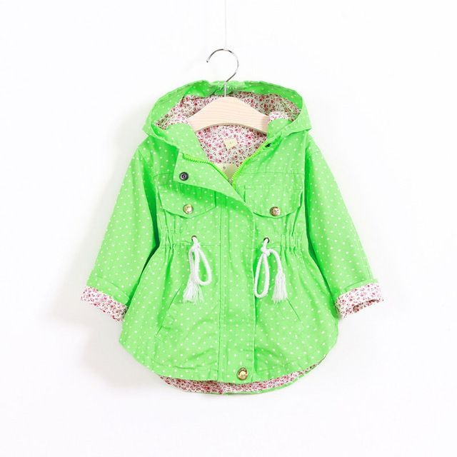 MRJMSL Chica de primavera otoño ropa Niños Prendas de Abrigo para Las Niñas Cazadora niños Chaquetas Con Capucha Abrigos dots