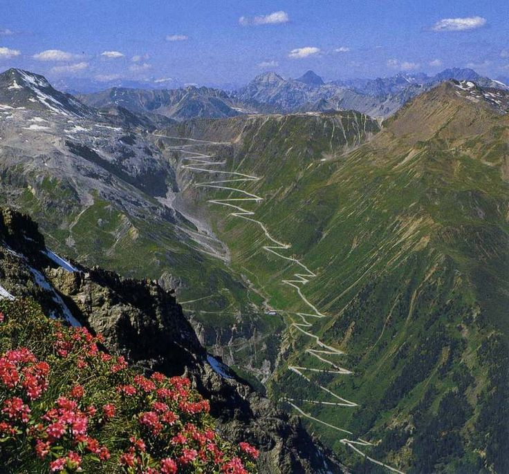 Stelvio Pass - 48 hairpin turns to the top of the Italian Alps.