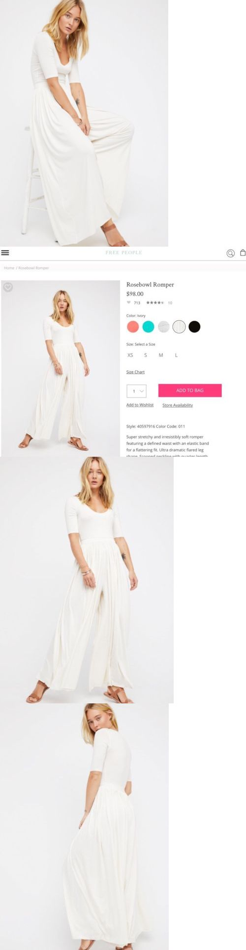 Jumpsuits And Rompers: New Free People Beach Rosebowl Romper Size Large White Wide Leg Jumpsuit -> BUY IT NOW ONLY: $89.99 on eBay!