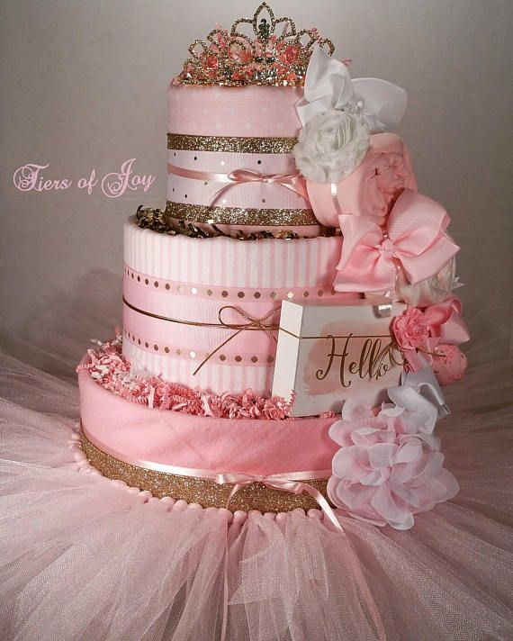 Pink And Gold Diaper Cake Baby Girl Gift Baby Shower Centerpiece