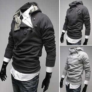 New coats men outwear Mens Special Button Hoodie Jacket Coat men clothes  Free Shipping-inHoodies