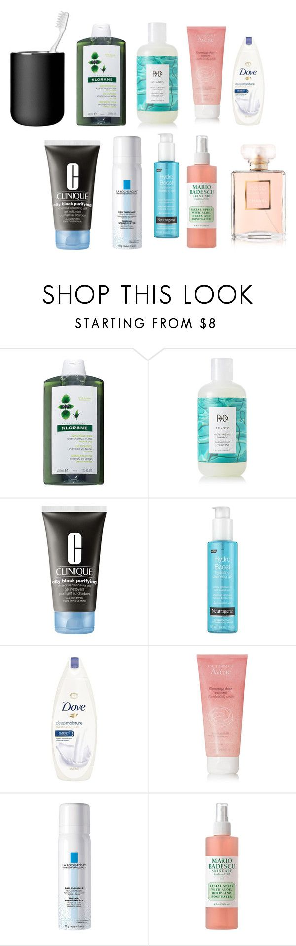 """morning routine🌷🌹"" by alessiaaaaaaaaa ❤ liked on Polyvore featuring Klorane, R+Co, Clinique, Neutrogena, Avène, La Roche-Posay, Mario Badescu Skin Care and Menu"
