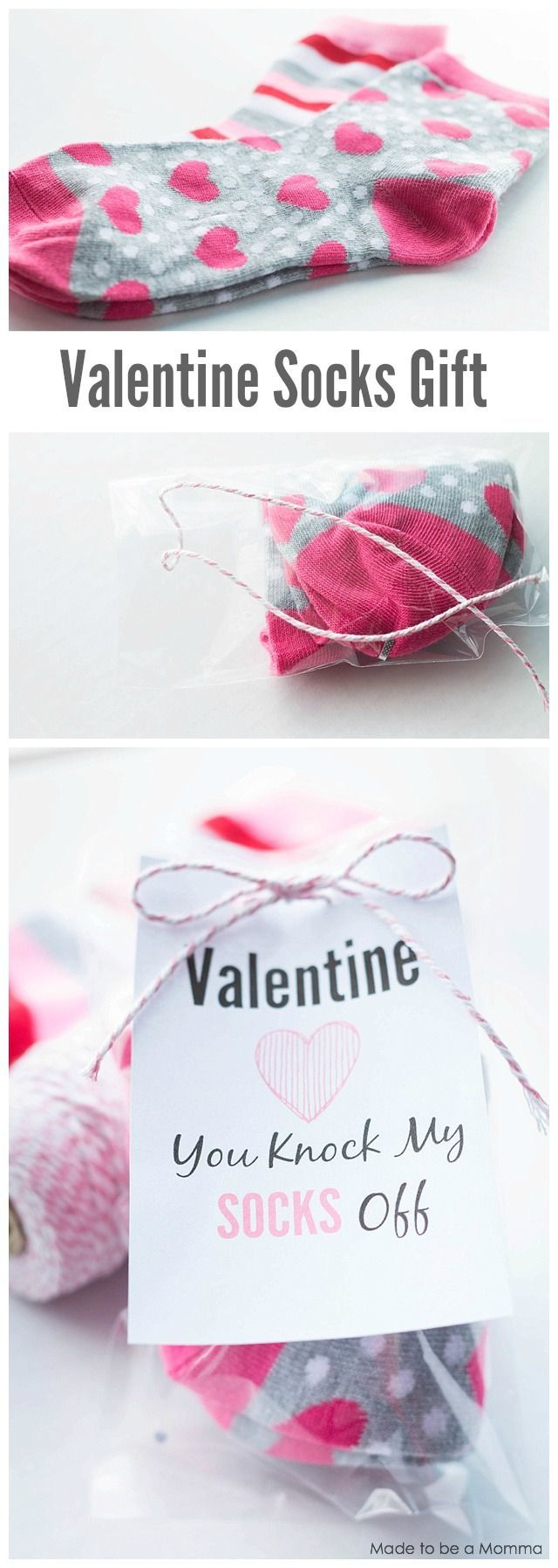 Valentine Socks Gift Idea. Get the free printable at madetobeamomma.com! | DIY Valentine's Day Gift
