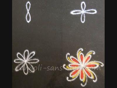 a basic floral rangoli