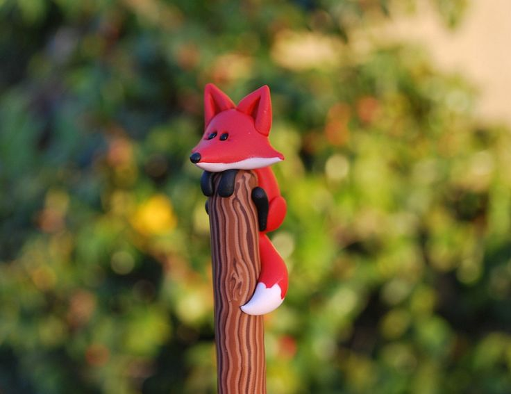 Polymer Clay Red Fox Ball Point Pen. $9.99, via Etsy. I think I could make this!