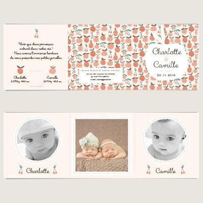 15 best Faire part naissance Jumelles images on Pinterest