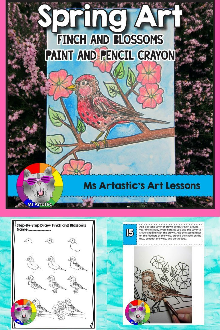 Students will use pencil crayon and paint to create a Spring art piece. Your students will really love this! This product is complete with a visual and text step-by-step (each step on its own page with description), a rubric for marking, a finished example, and a step-by-step how to draw the finch to allow your students to create this piece successfully! This also includes a pre-drawn finch and blossoms template for you if you are doing this with younger students or if you need to adapt the…