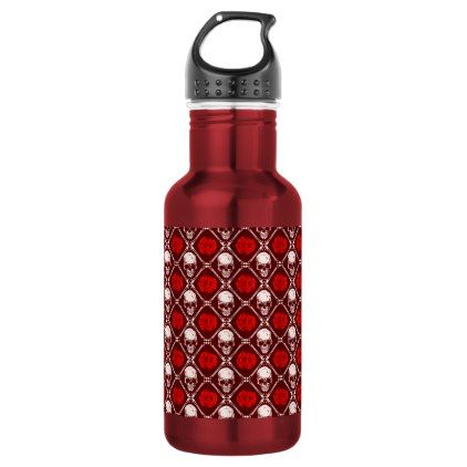 skull and roses stainless steel water bottle - decor gifts diy home & living cyo giftidea