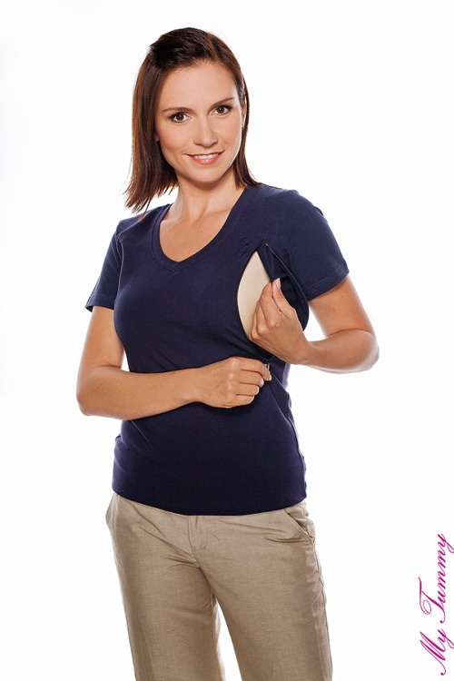 Nursing blouse short sleeve navy blue