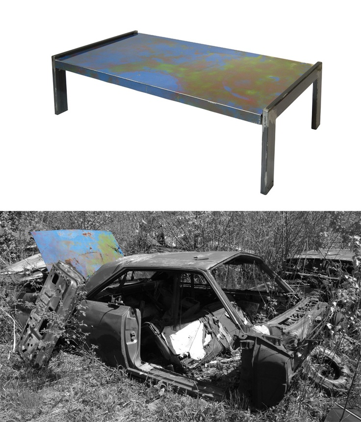 Metal Table Made From A Recycled 1966 AMC Rambler DeluxePlymouth Belvedere  Who Transforms Car Body Parts Into Industrial Furniture.