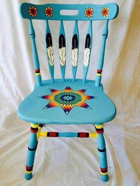 """Native American inspired painted chair"". I don't care for the color of the blue though"