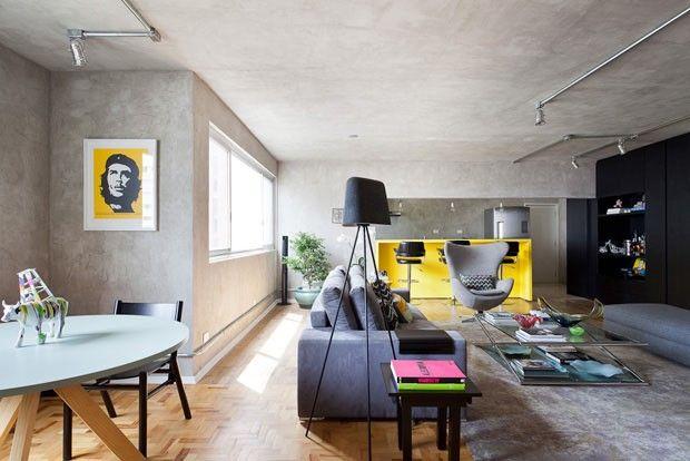Tons de cinza e amarelo  http://casavogue.globo.com/Interiores/apartamentos/noticia/2014/04/tons-de-cinza-e-amarelo-para-solteiro.html