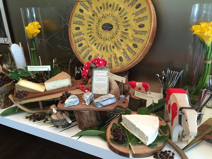 Cheese display during our VIP event at the Australian Open. From left to right: Selection Beeler Vacherin Fribourgeois, Delice du Poitou, Fromage de Meaux aux Truffes.
