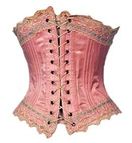 Antique corsets - Pink sateen corset 1899-1900 corset made from pink sateen and lined in white cotton twill.
