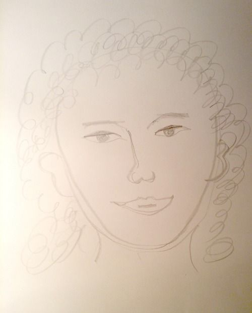 Mia drew this portrait of a friend from memory before instruction.