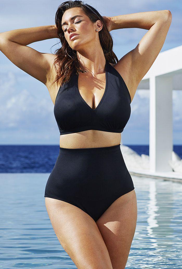 swim sexy jet black halter high waist bikini high waist. Black Bedroom Furniture Sets. Home Design Ideas