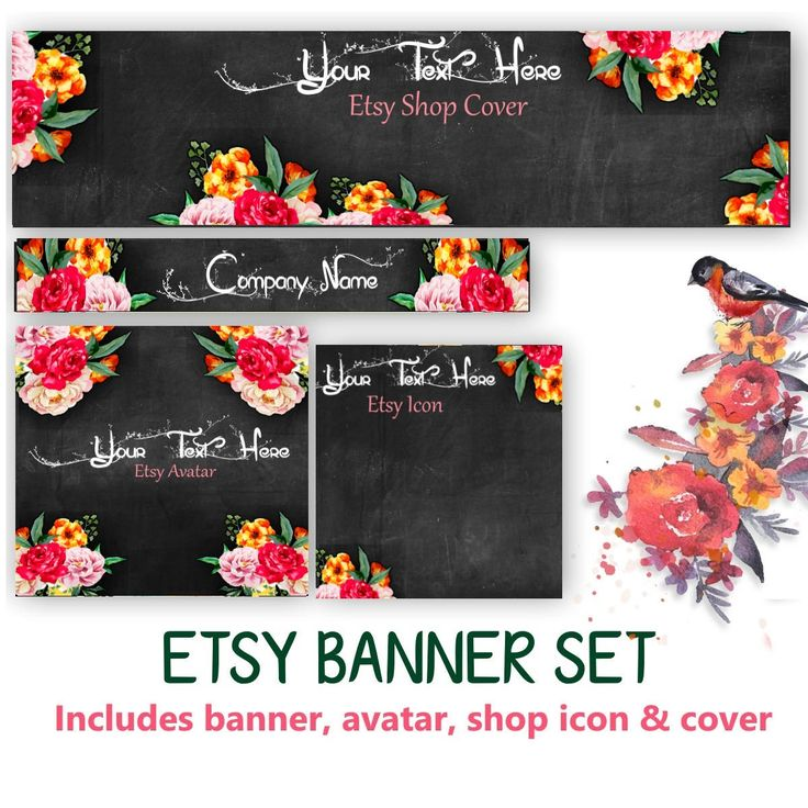 CUSTOM Floral Etsy Banner Set - Customized Banner or DIY - Avatar, Icon, Cover & Banner - DIY Blank Banner by WatercolorArtHut on Etsy