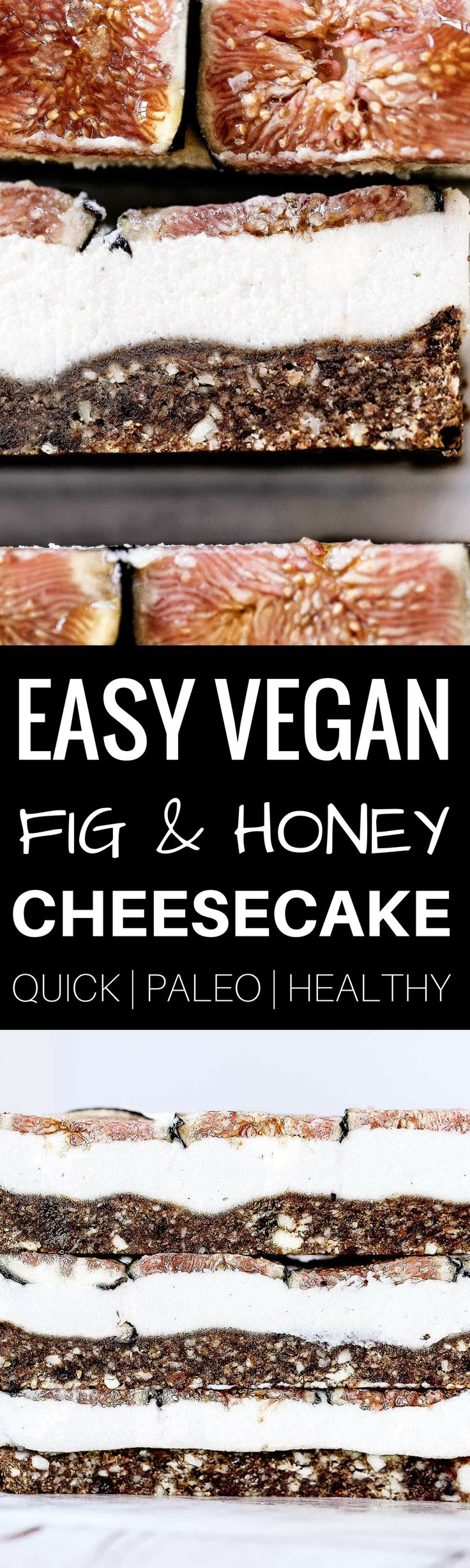 """Easy vegan paleo fig and honey cheesecake with a delicious crisp """"graham cracker"""" crust. Gluten free and so super easy to make! Freezer friendly."""