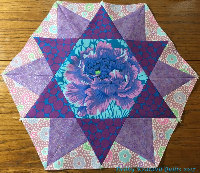 """Double Hexie Star: All patches cut using my 60 degree ruler. No y-seams. 18"""" high block. Sample for an upcoming new workshop."""