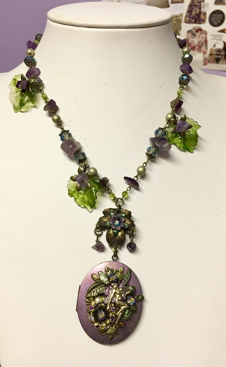 """Enchanted Forest"" vi Tate assemblage faerie locket with amethyst by Jeanie Schlegel for Seditious Jewelry on Etsy"