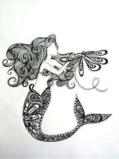zentangled mermaid - Google Search