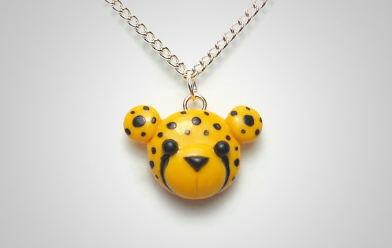 Cheetah Necklace  Cute Polymer Clay Animal Jewelry by PixieHearts, $18,50