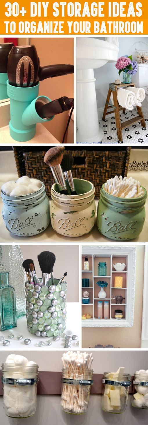30+ DIY Storage Ideas To Organize your Bathroom -- magnetic strip on inside of sink mirror for bobby pins