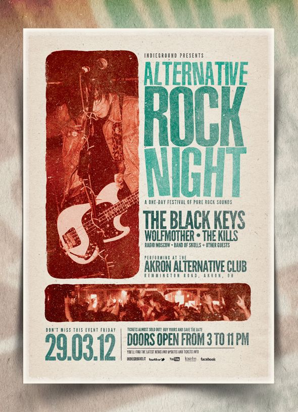 """Alternative Rock Night"" – This flyer was designed to promote an Alternative / Indie Rock / Garage / Grunge / Pop / Underground music event, such as a gig, concert, festival, party or weekly event in a music club and other kind of special evenings. This poster can also be used for a band's new album promotion, a revival event and other advertising purposes."