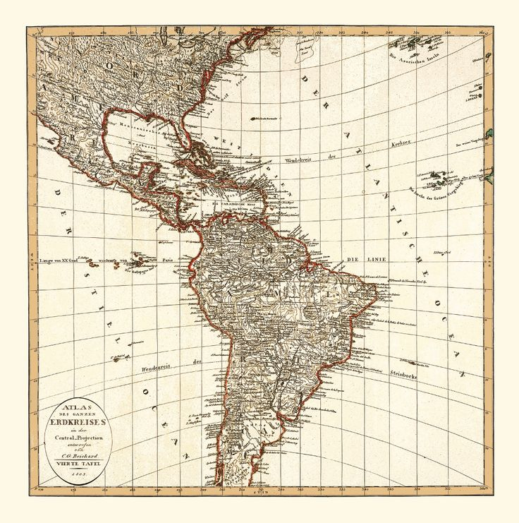 The Spanish American Wars of Independence took place in early 19th century. This map of Latin America from 1803 shows the continent at the start of the independence process. Old map of Sout America.