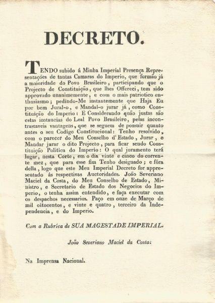 """D. Pedro I - Juramento a 1ª Constituição do Império. """"............Participando que o Projecto de"""