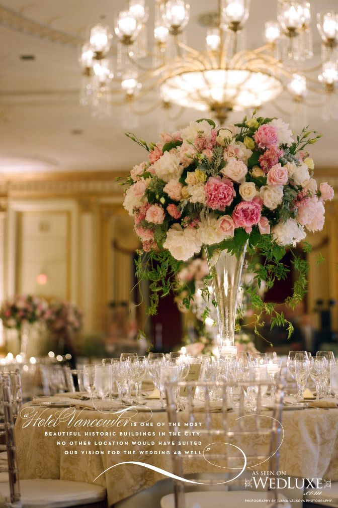 The Pacific Ballroom of The Fairmont Hotel Vancouver -- Old-world European: Crystal Chiavari chairs, candelabras and vases filled with oversized bouquets of peonies. Event design by Soha Lavin of CountDown Events Vancouver.