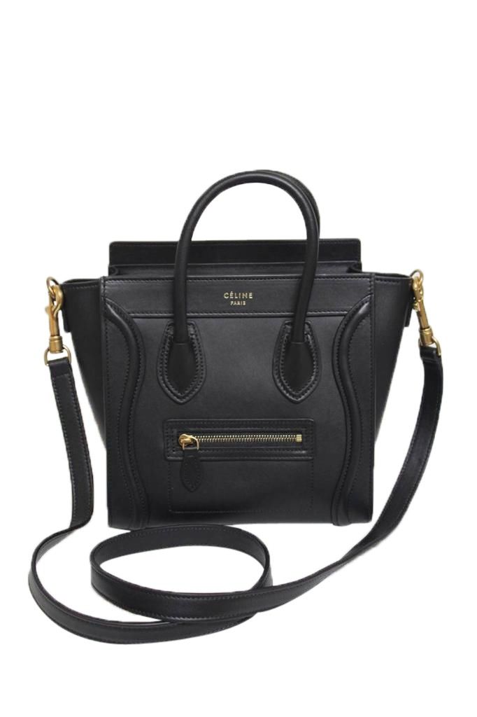 Celine Black Smooth Leather Nano Bag - Celine Black Nano Luggage ...