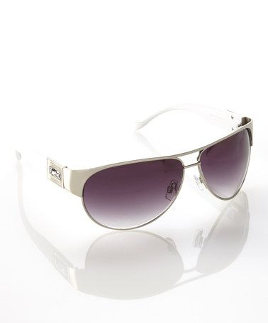 Another great find on #zulily! Matte Silver & White Undercover Sunglasses by Jessica Simpson Collection #zulilyfinds $22