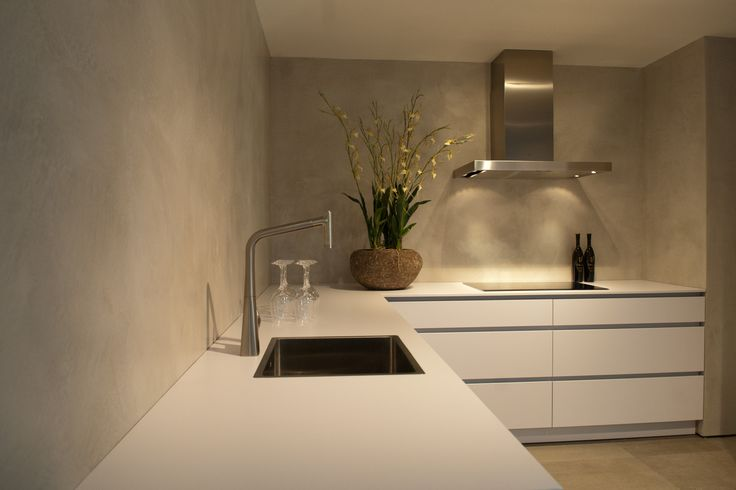 Betonstuc keukenwand