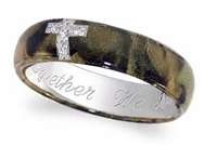 camo ring with a cross, or plain camo for the guys wedding band, could be pretty cool