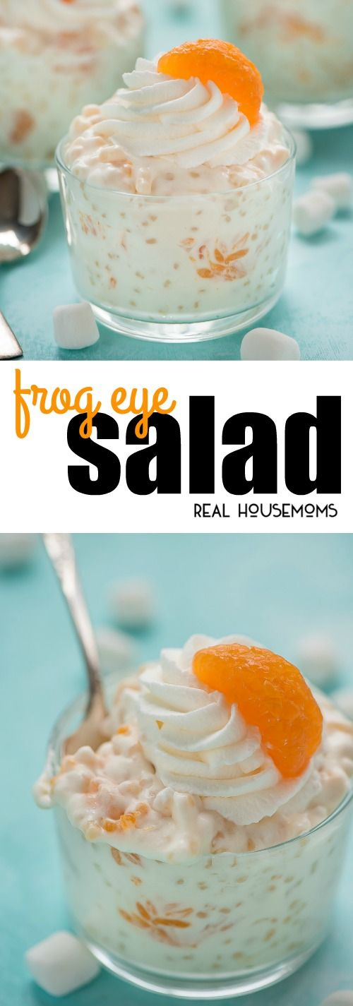 Serve Frog Eye Salad at your next barbecue party for a yummy, sweet, fruit filled side dish that will be the talk of the party! via @realhousemoms