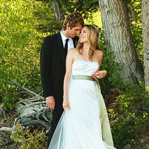 Christopher Jarecki and Alicia Silverstone pose for a photo following their wedding ceremony.